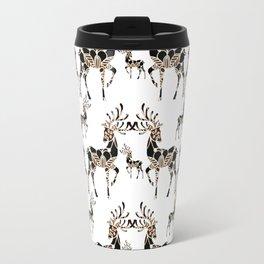 Fancy Rose-Gold and Black Mandala Reindeer Pattern Travel Mug