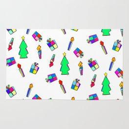 Ho Ho Ho Merry Christmas colorful illustration Rug
