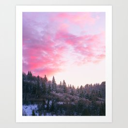 Magical bright pink sunset above snowy forest Art Print