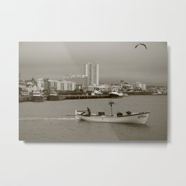 Small boat in the bay Metal Print