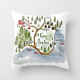 Map of Camp Pinetree Throw Pillow