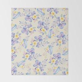Lavender yellow purple watercolor modern floral Throw Blanket