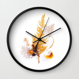 Beautiful Minimalist Evergreen Yellow Ochre Leaf Plant Arrangement White Background Wall Clock