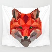 low poly Wall Tapestries featuring Low poly Fox by exya