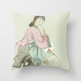 Chinese Painting and Calligraphy Print, Twelve Beauties of Jinling of Famous Literary Throw Pillow