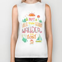 baloon Biker Tanks featuring Not All Those Who Wander ii by becca cahan