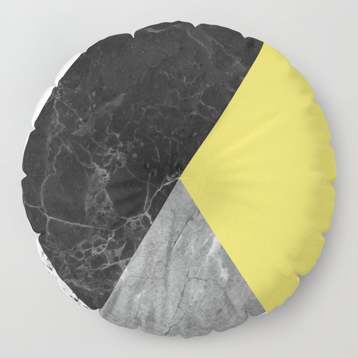 Black and White Marbles and Pantone Primrose Yellow Color Floor Pillow
