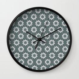 Ten Petal Flower Pattern (Grey) Wall Clock