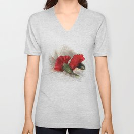 Red Carnations on Brocade Unisex V-Neck
