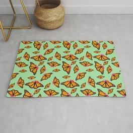 Orange Monarch Butterfly Pattern Rug