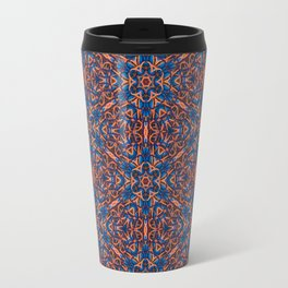 Striking Blue and Orange beadwork inspired Geometric Print Travel Mug
