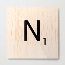 Scrabble Letter N - Large Scrabble Tiles Metal Print