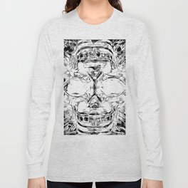 psychedelic skull art geometric triangle abstract pattern in black and white Long Sleeve T-shirt
