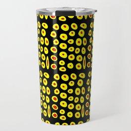 red and yellow polka dot- polka,polka dot,dot,pattern,circle,disc, point,abstract, minimalism Travel Mug