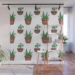 Succulents (pixel pattern) Wall Mural