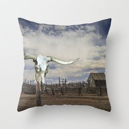 Steer Skull and Western Fenced Corral Throw Pillow