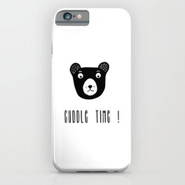 Cuddle time bear black and white illustration iPhone Case