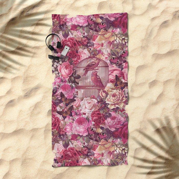 Vintage Bird Cage Flower Pattern Retro Illustration Beach Towel