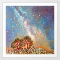 Twin Trees and the Milky Way Art Print