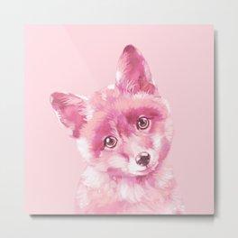 Baby Fox in Pink Metal Print