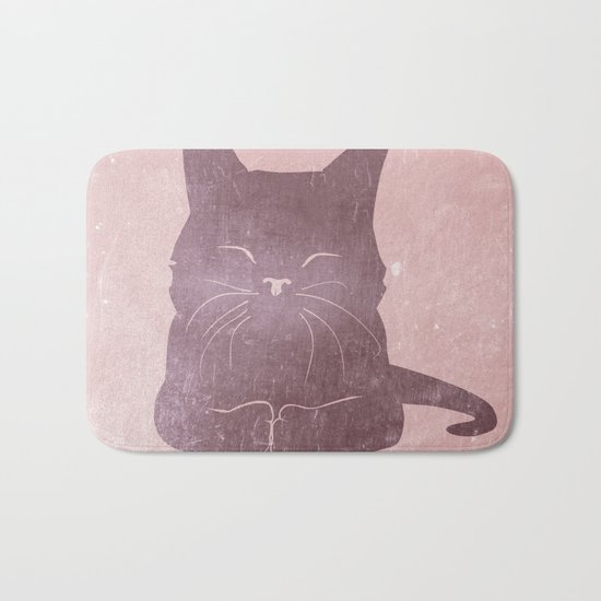Happy purple cat illustration on pink for girls Bath Mat