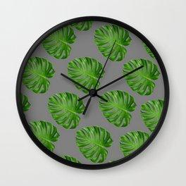 GREEN TROPICAL CUT LEAF ON GREY  DESIGN ART Wall Clock