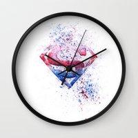 superman Wall Clocks featuring Superman by emegi