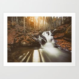 Autumn waterfall II Art Print