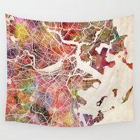 boston Wall Tapestries featuring Boston by MapMapMaps.Watercolors