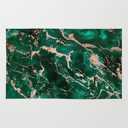 Modern rose gold marble green emerald watercolor pattern Rug
