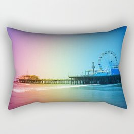 Santa Monica Pier Rainbow Colors Rectangular Pillow