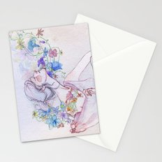 The lady and the flowers. Stationery Cards