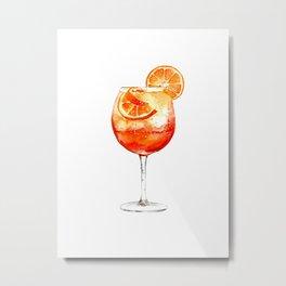 Cocktails. Aperol Spritz. Watercolor Painting. Metal Print