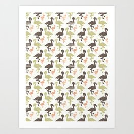 Green Brown and Pink Nature Flamingo Silhouette Art Print