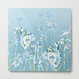 Blue Butterfly Garden Metal Print