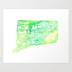 Typographic Connecticut - green watercolor Art Print