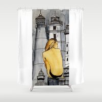 lighthouse Shower Curtains featuring lighthouse by The Traveling Catburys