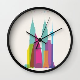 Shapes of Kuala Lumpur. Accurate to scale Wall Clock