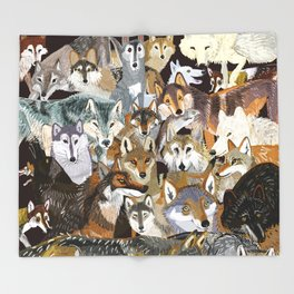 Wolves o´clock (Time to Wolf) Throw Blanket