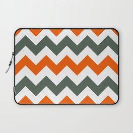 Chevron Pattern In Russet Orange Grey and White Laptop Sleeve