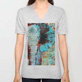 Indian Sketch Elephant Blue Orange Unisex V-Neck