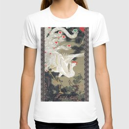 Jakuchu Phoenix with Hemp Pattern Background T-shirt