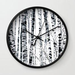 Birch Trees In Winter Wall Clock