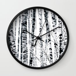 Birch Trees In Winter Wall Clock