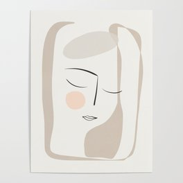 Dreaming Girl Portrait #minimalart Poster