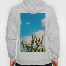 Beautiful Vintage Photo Green Cactus With Blue Sky White Cloud Hoody