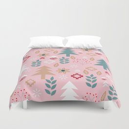 Cute Christmas in pink Duvet Cover