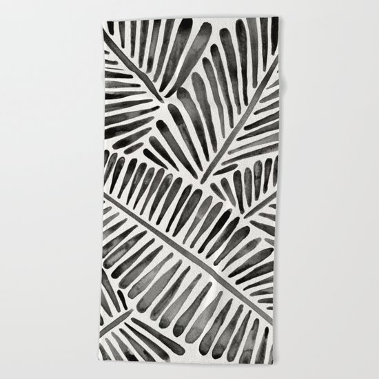 Tropical Banana Leaves – Black Palette Beach Towel