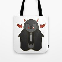 crowley Tote Bags featuring Crowley Demon Penguin Supernatural by ParallelPenguins