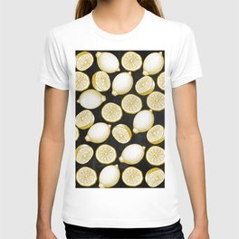 Lemons on black background T-shirt